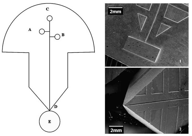 A schematic diagram showing the top view of the chip to ball direct contact deposition: (A) sample reservoir, (B) waste reservoir, (C) buffer reservoir,  (D) fluidic channel exit tip, (E) (E) ball. Panels on the right show two scanning electron micros- copy (SEM) images of (1) the brass mold insert and (2) an embossed microchip tip.