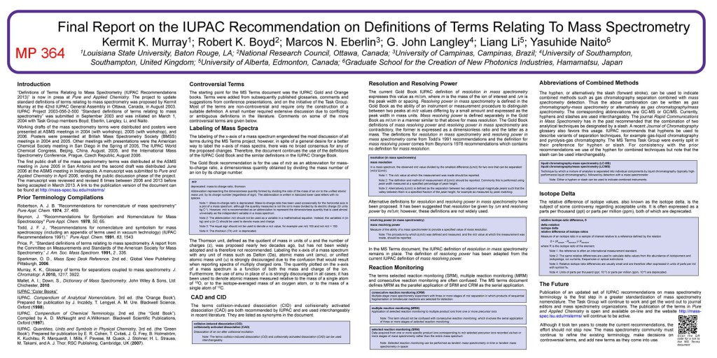 ASMS 2013: Final Report on the IUPAC Recommendation on Definitions of Terms Relating To Mass Spectrometry