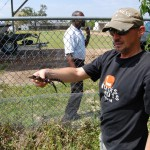 Prof. Mark Merchant with baby alligators at McNeese State University March 2009