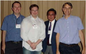 Ben Bythell, Brandon Ruotolo, Joe Loo, and Kermit Murray at the 2016 JASMS Editorial Board dinner in San Antonio (photo by Sue Weintraub)