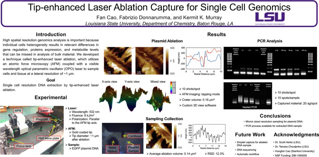 Tip-enhanced Laser Ablation Capture for Single Cell Genomics, F. Cao, F. Donnarumma, and K. K. Murray, 255th ACS National Meeting & Exposition, March 18–22, 2018, New Orleans