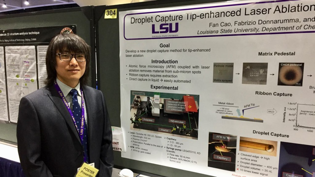 "Fan Cao, ""Droplet Capture Tip-enhanced Laser Ablation Sampling for Mass Spectrometry"", American Society for Mass Spectrometry National Meeting, San Diego, June 3-7, 2018"